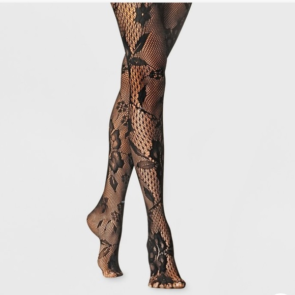 A New Day Black Floral Fishnet Tights 👠